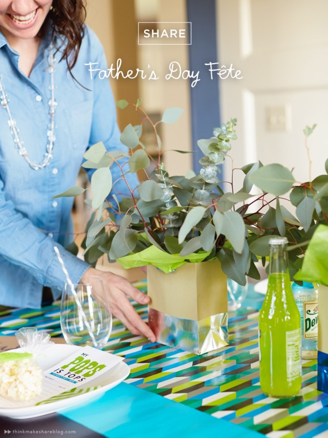 DIY Fathers Day tabletop with gift wrap product   thinkmakeshareblog.com