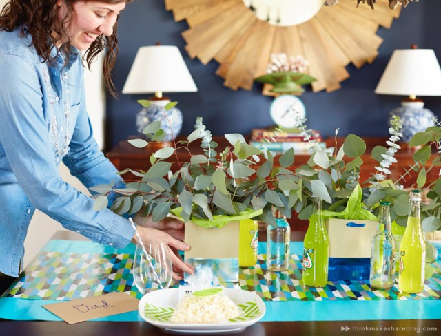 DIY Fathers Day tabletop with gift wrap product | thinkmakeshareblog.com