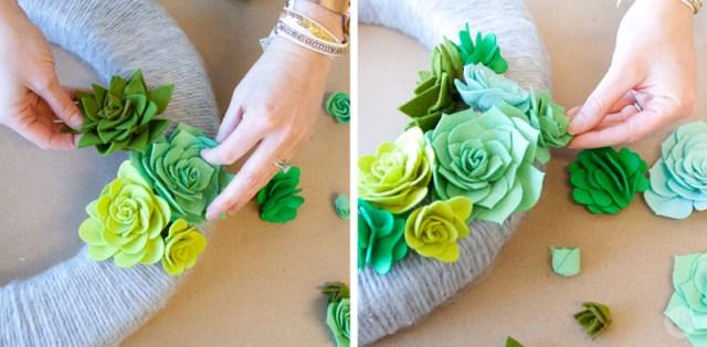 A felt succulent wreath tutorial | thinkmakeshareblog.com