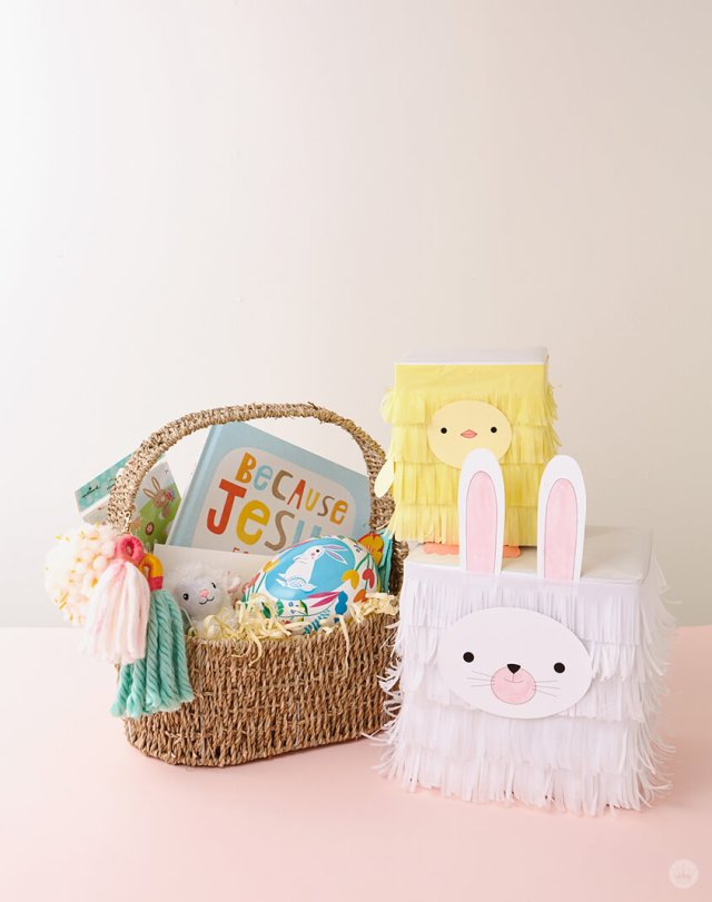 Easter basket with wrapped chick and bunny gifts