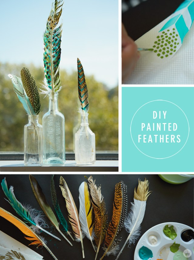 DIY painted feather art | thinkmakeshareblog.com