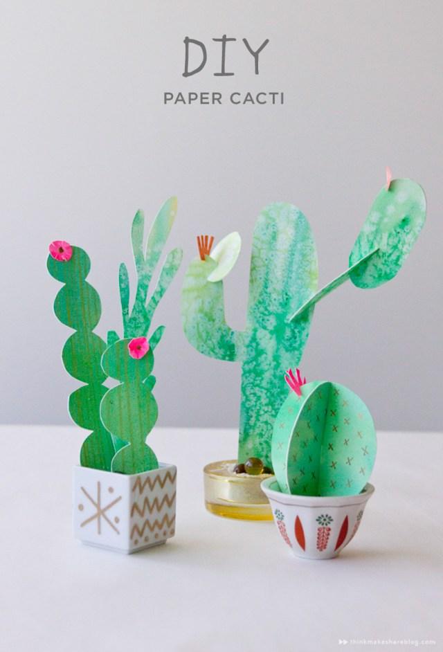 DIY paper cacti from Hallmark artist Allyson Lassiter | thinkmakeshareblog.com