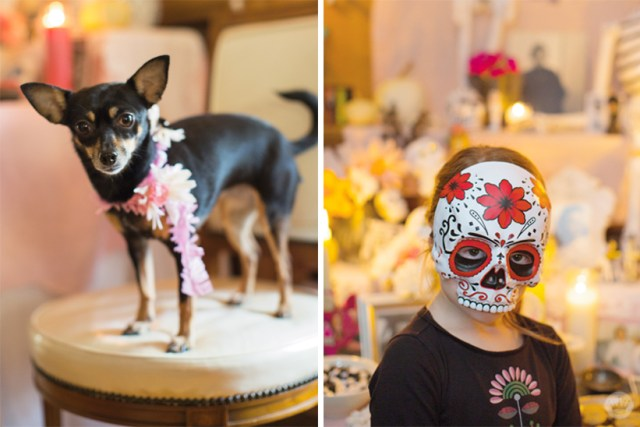 A chihuahua and a friend in festive Day of the Dead accessories