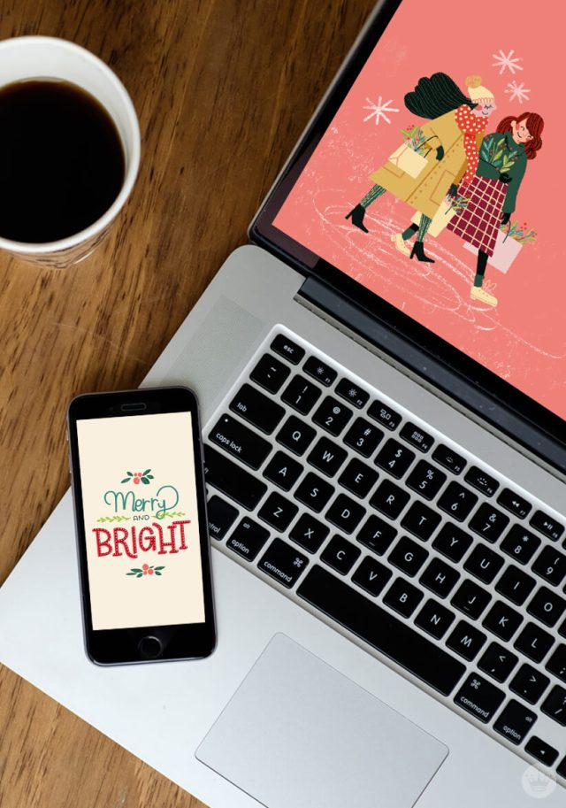FREE DECEMBER 2018 DIGITAL WALLPAPERS displayed on laptop and mobile phone