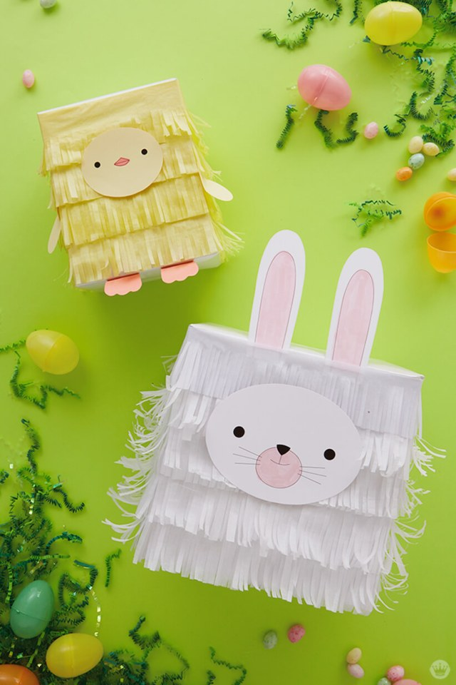 Kids Easter Gift Wrap Ideas: Tissue paper chick and bunny