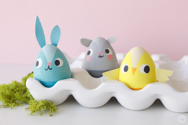 Decorated eggs: bunny, mouse, chick | thinkmakeshareblog.com
