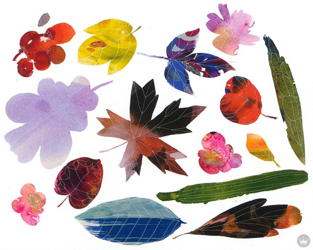 10 nice things to do: Painting of fall leaves in bright colors
