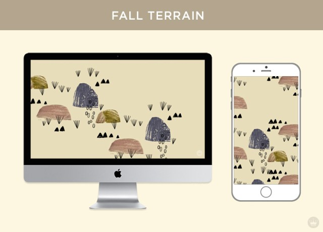 Digital wallpapers with fall feathers and leaves: Fall terrain-inspired design displayed on desktop computer and smartphone screens