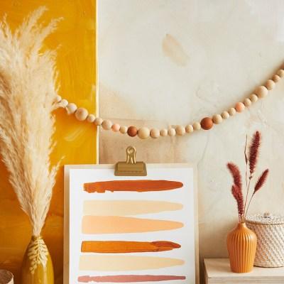 Fall art with bead garland and pampass grass | thinkmakeshareblog.com