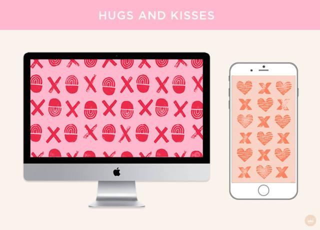 Free February 2019 digital wallpapers: Hugs and Kisses | thinkmakeshareblog.com