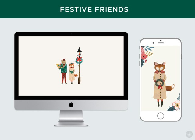 Free downloadable festive friends digital wallpapers