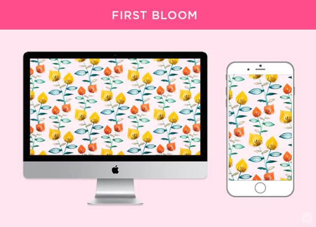 Free April 2018 Digital Wallpapers: First Bloom design shown on desktop and mobile