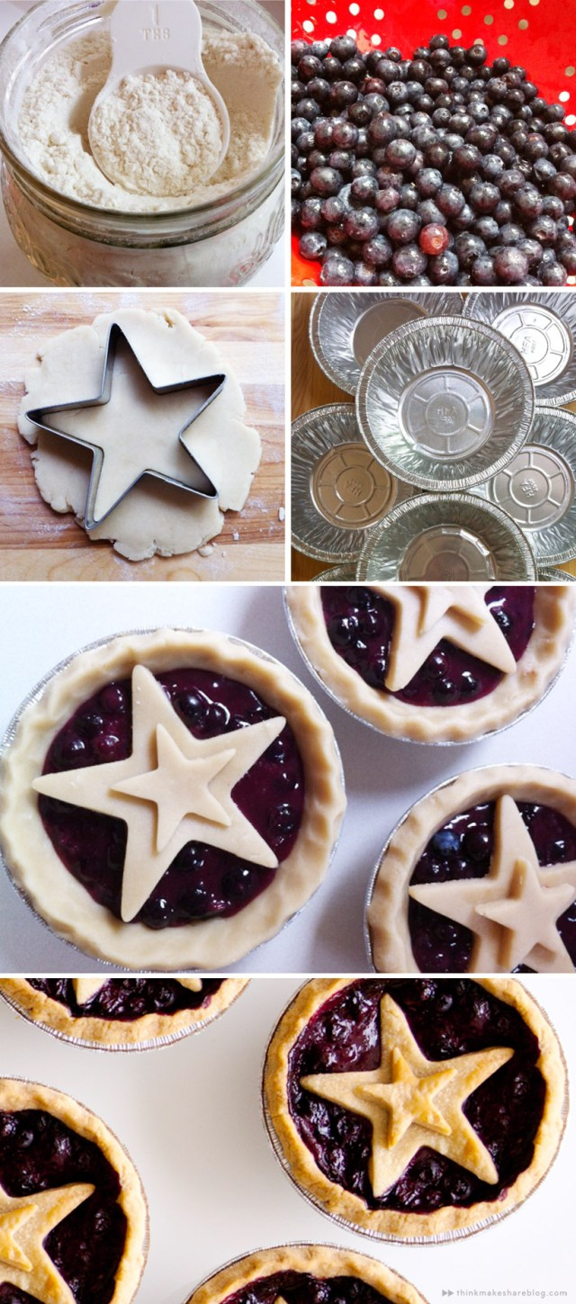 Fourth of July Mini Blueberry Pies | thinkmakeshareblog.com