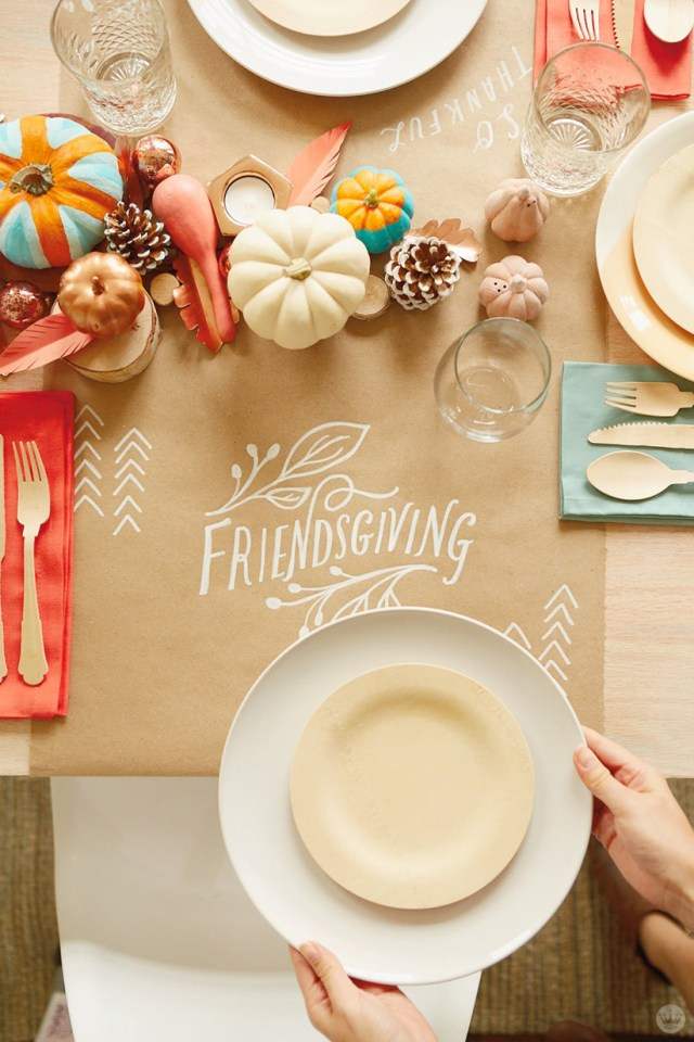 Place setting with hand-lettered FRIENDSGIVING