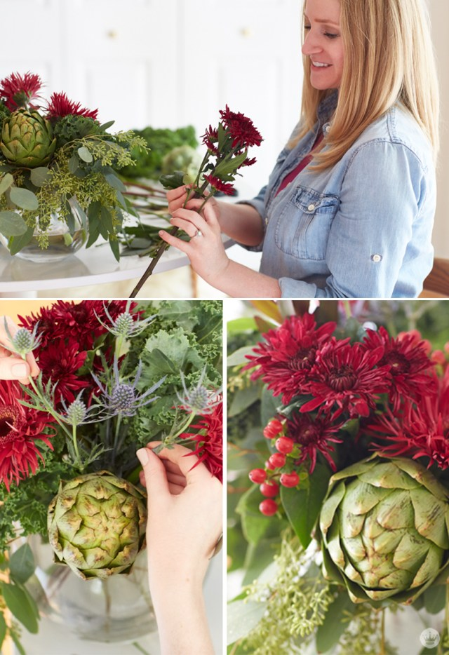 Friendsgiving tabletop inspiration   Make a beautiful floral arrangement from grocery store blooms and produce   thinkmakeshareblog.com