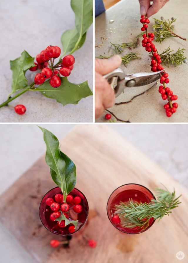 Easy holiday gift giving tips from a Hallmark stylist. natural greens in red glasses.