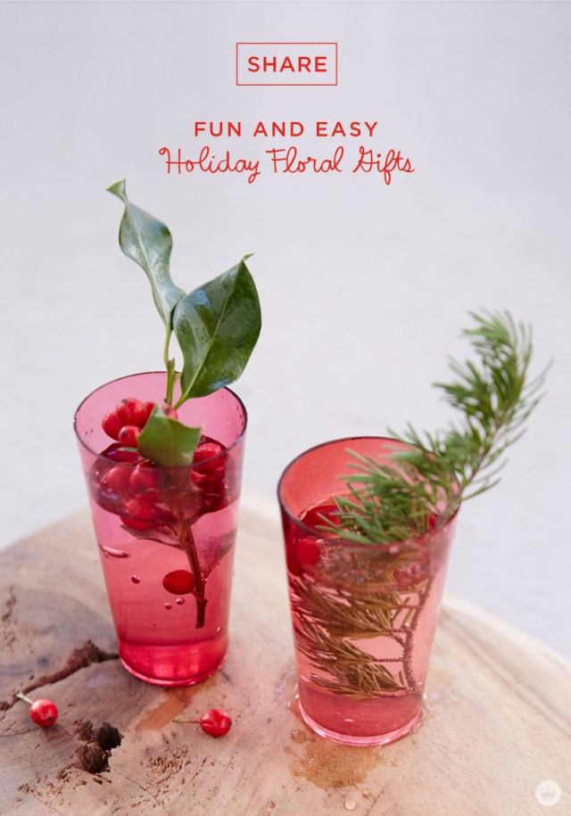 Easy Easy holiday gift giving tips from a Hallmark stylist. Red berries and greenery in red cups.