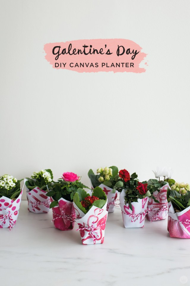 DIY Galentine's Day gifts: Canvas planter wraps painted with pink and red designs.