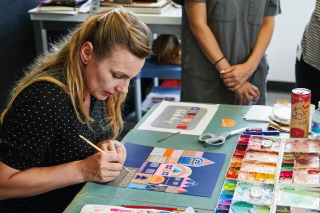 Gouache Workshop: Mirna demonstrates ways to paint architectural details on collaged buildings