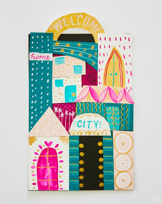 Gouache Workshop: Collage and gouache city scape