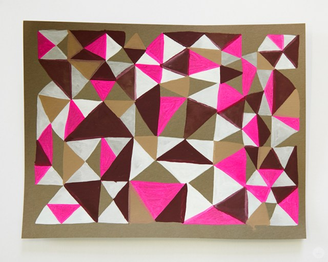 Gouache Workshop: Abstract triangle patterns in shades of brown, pink, and white