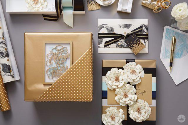 3 fabulous ways to wrap a wedding present | thinkmakeshareblog.com