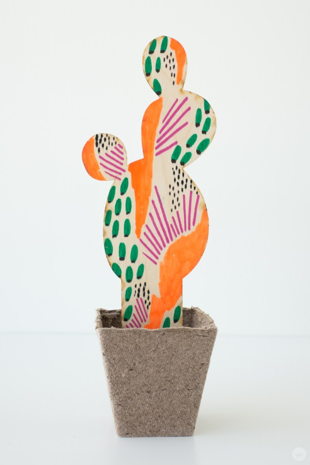 Wooden laser-cut succulent decorated with markers