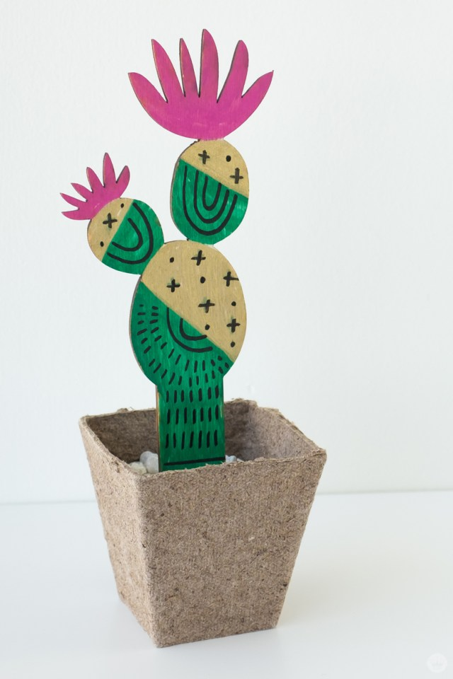 Marker-decorated wooden succulent