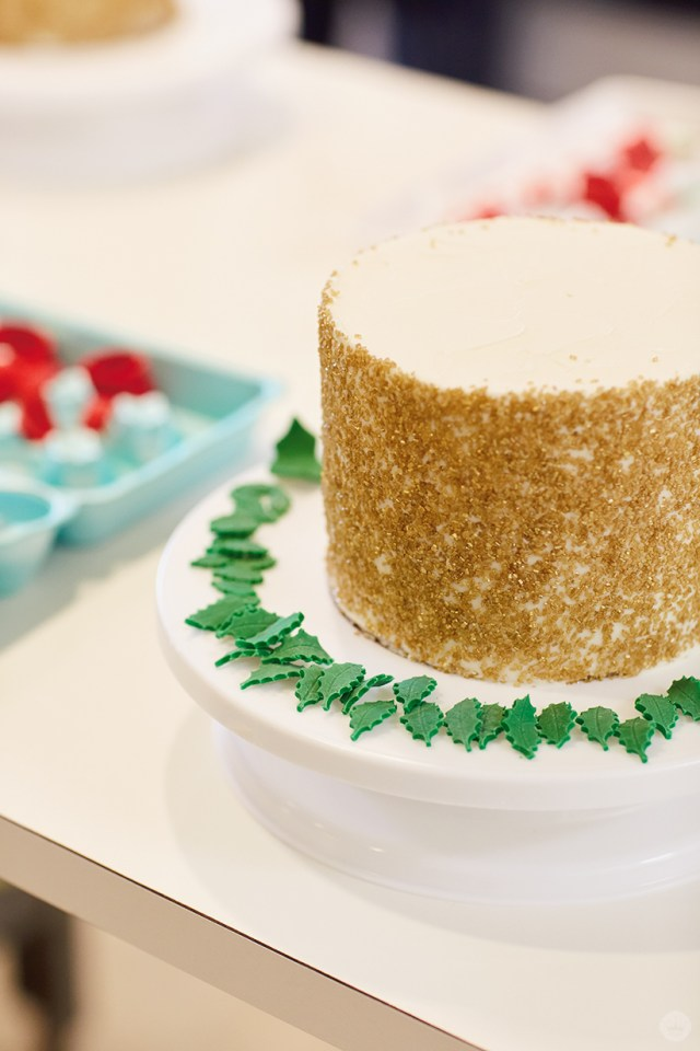 Holiday cake ideas: Fondant leaves for a holly wreath topper