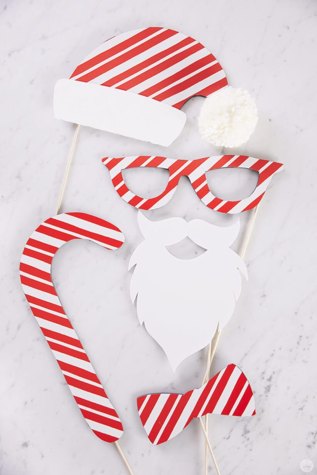 Gift wrap used as photo booth props