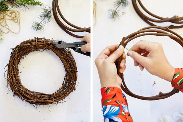 Modern Christmas wreath ideas: How to make a grapevine wreath
