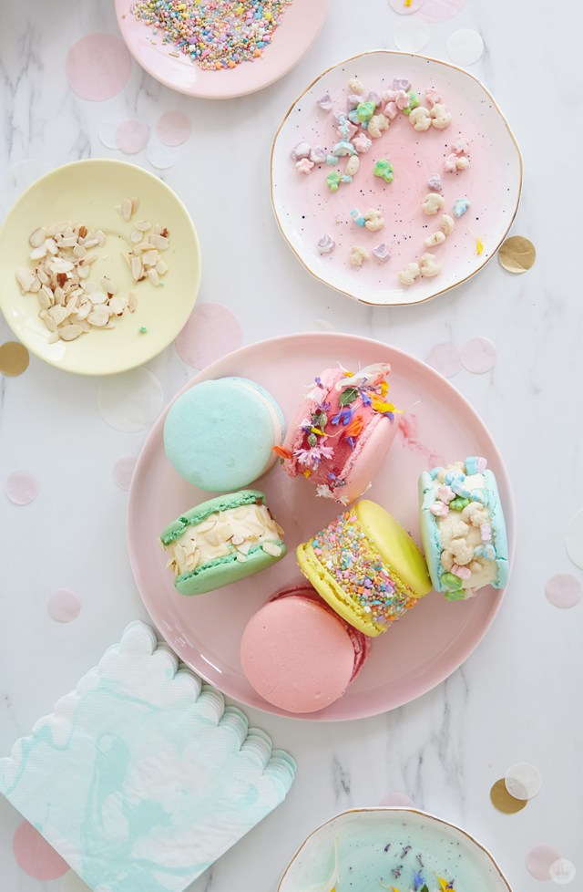 Decorated treats from an ice cream sandwich topping bar