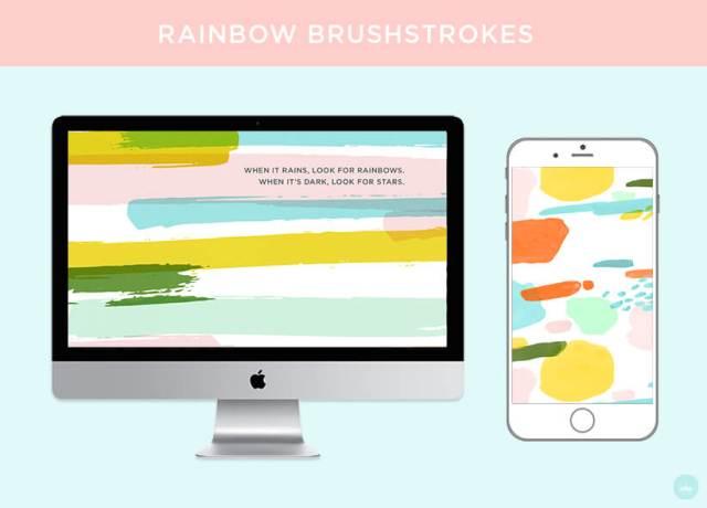 FREE JULY 2018 DIGITAL WALLPAPERS rainbow brushstroke art