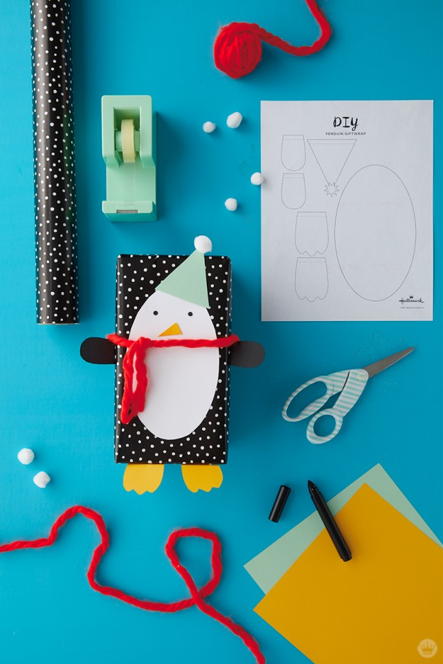 Kids Holiday gift wrap Ideas: Supplies for Penguin wrap