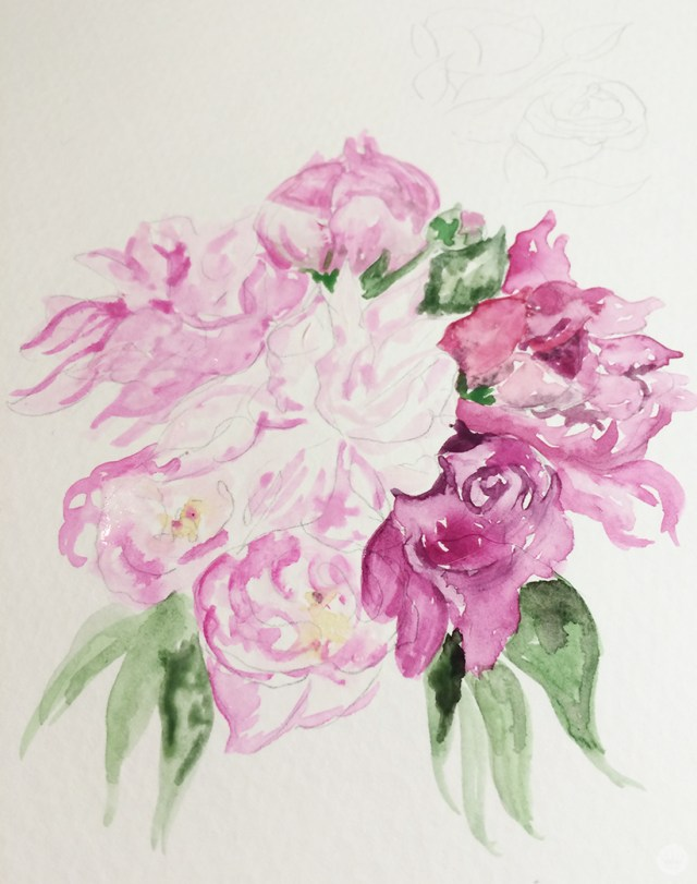 A painted flower from the Signature and Laura Hooper Calligraphy collection.