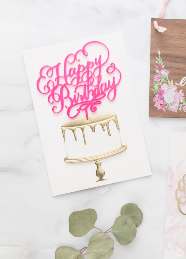 A birthday card from the Laura Hooper Calligraphy collaboration with Signature.
