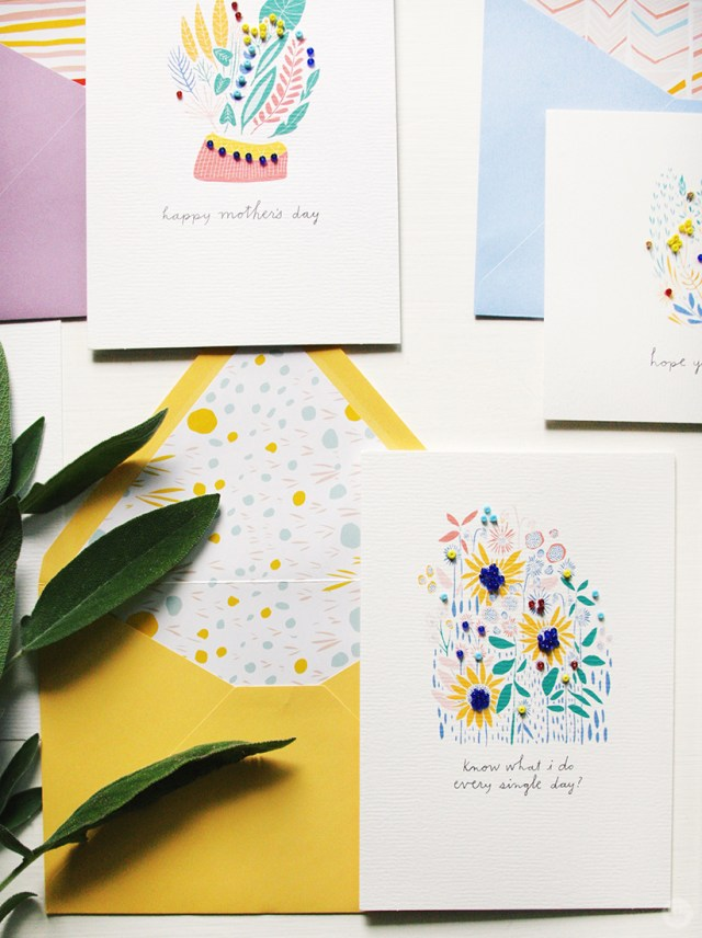 Closeup of greeting cards from the Leah Duncan Signature Mother's Day collection