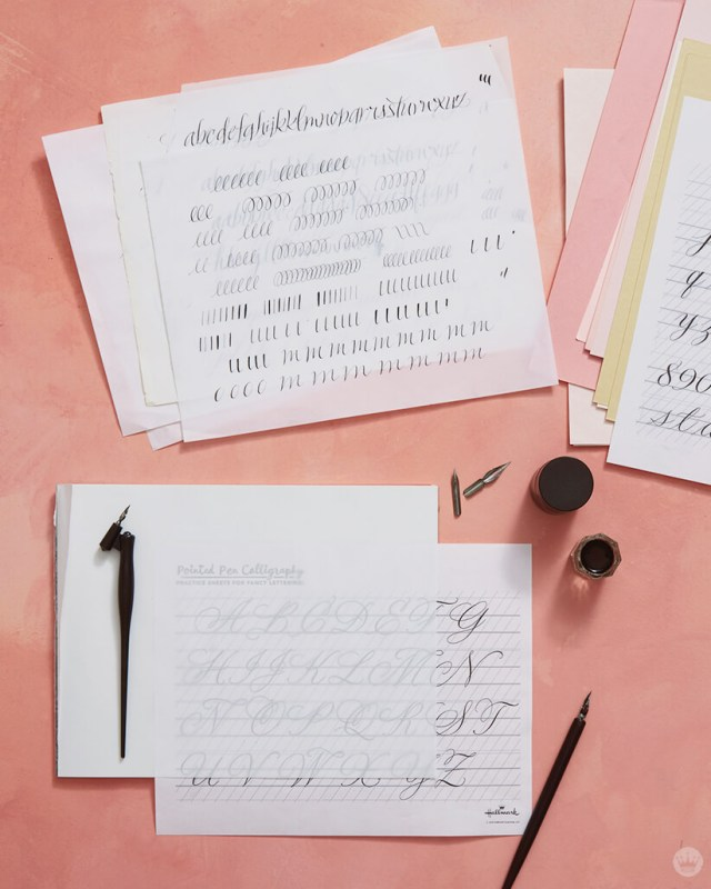 Calligraphy tips—supplies for pointed pen lettering: practice sheets, pen holders, nibs, ink