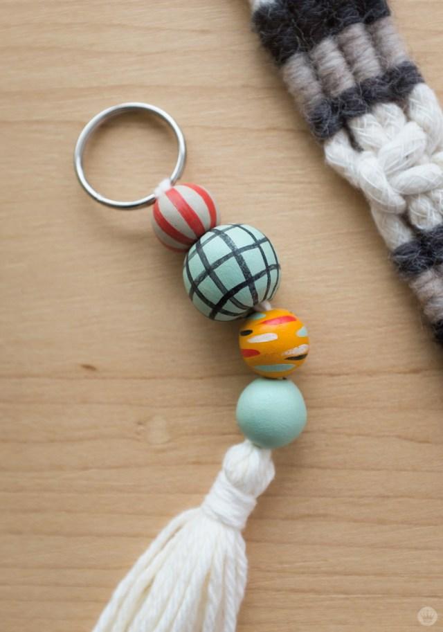 Tassel keychain with handpainted Sculpey beads