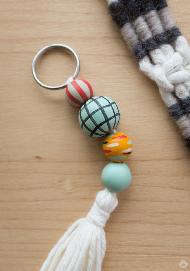 Tassel keychain with handpainted Sculpey beads