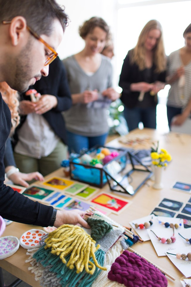 Handmade gift exchange: Participants choose their crafts