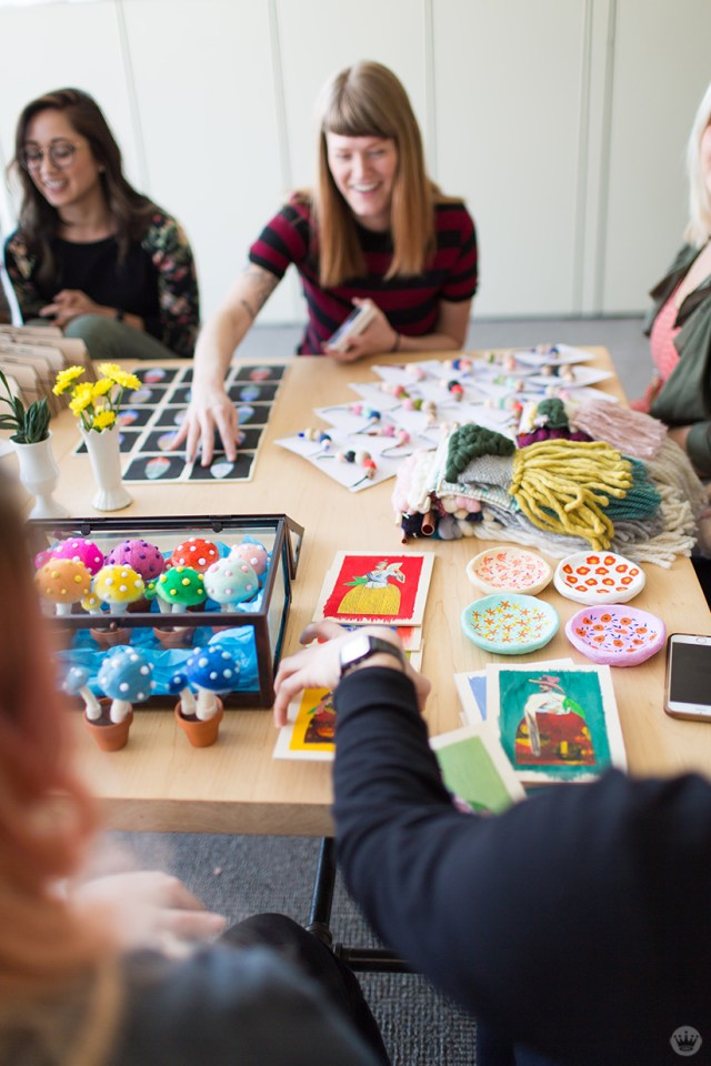 Handmade gift exchange: A table full of crafts