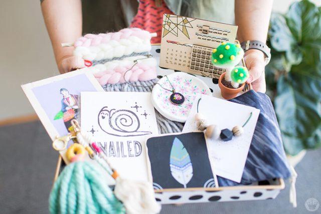 Handmade gift exchange: Tray full of art