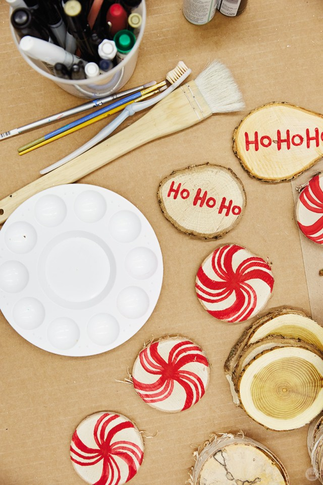 DIY ornament ideas: Supplies for hand-painted wood rounds