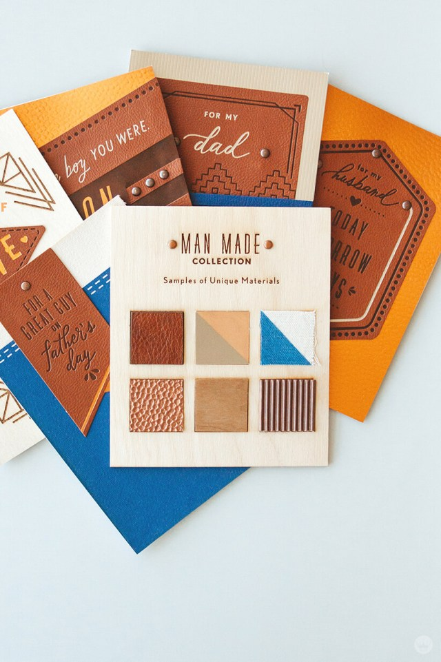 the swatched and materials that went into Hallmark's Man Made Father's Day cards