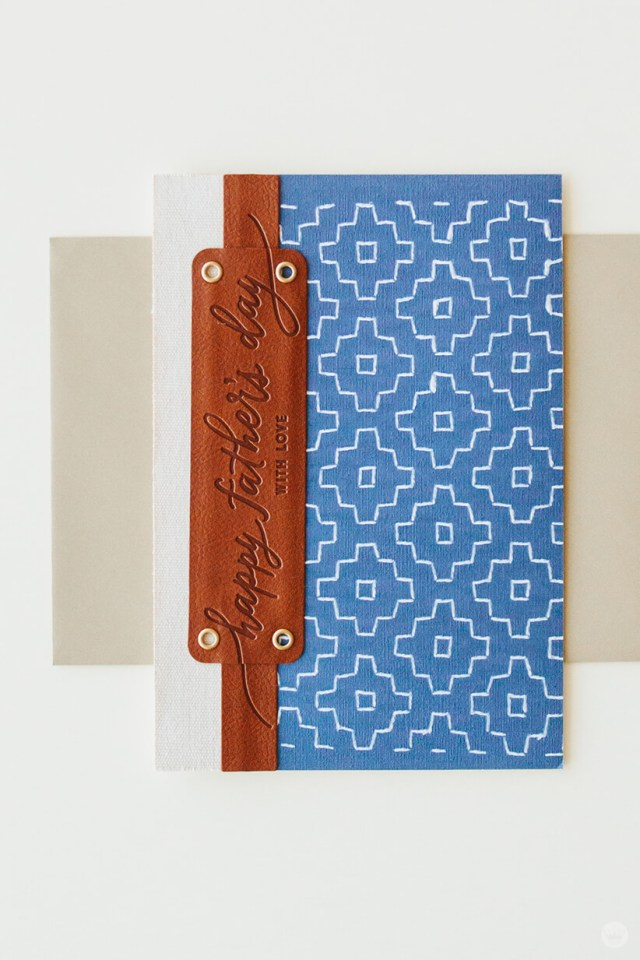 One of four cards from Hallmark's Man Made Father's Day collection featuring patterned fabric