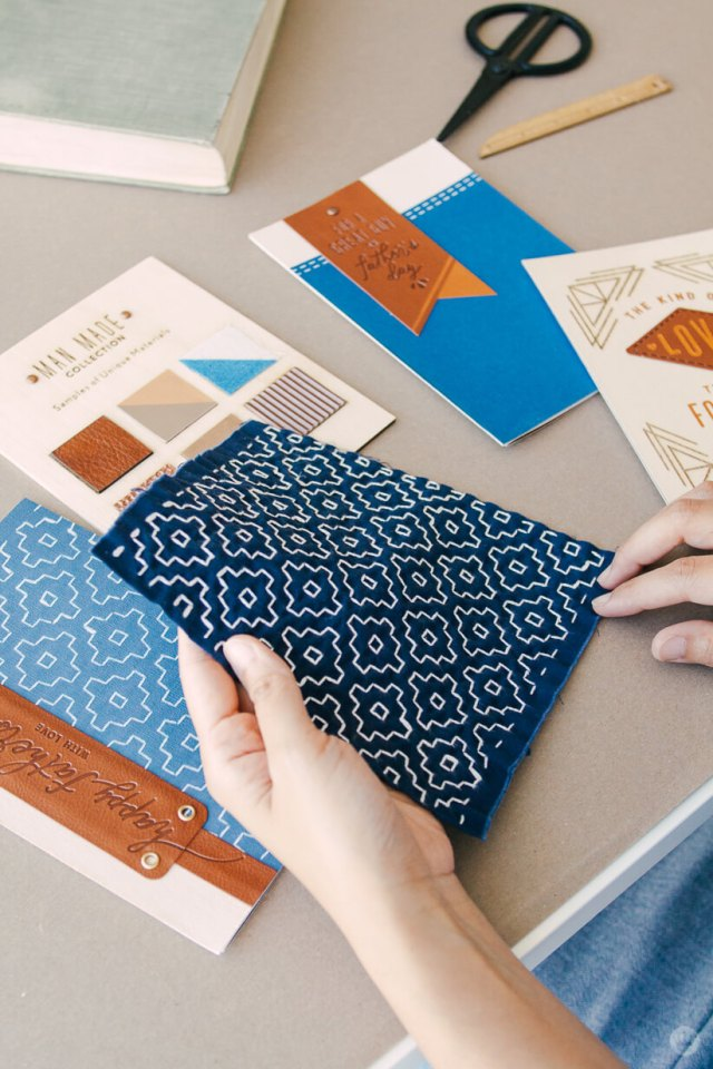 the patterned fabric inspiration behind Man Made Father's Day cards