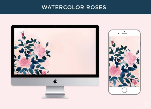 Free May 2018 digital wallpapers: Watercolor Roses
