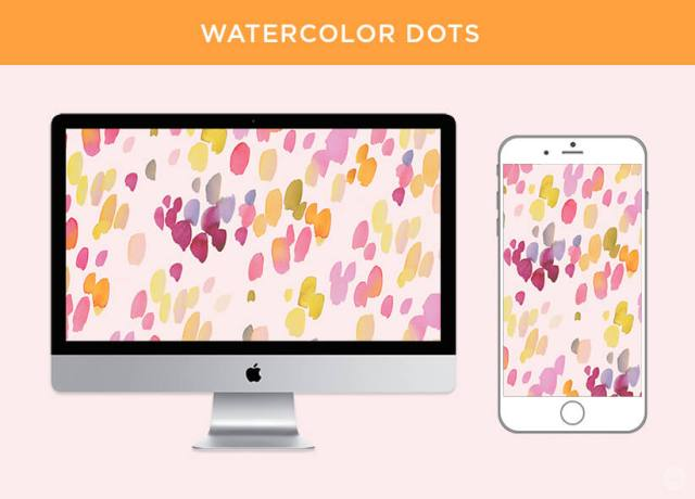 Free May 2018 digital wallpapers: Watercolor dots