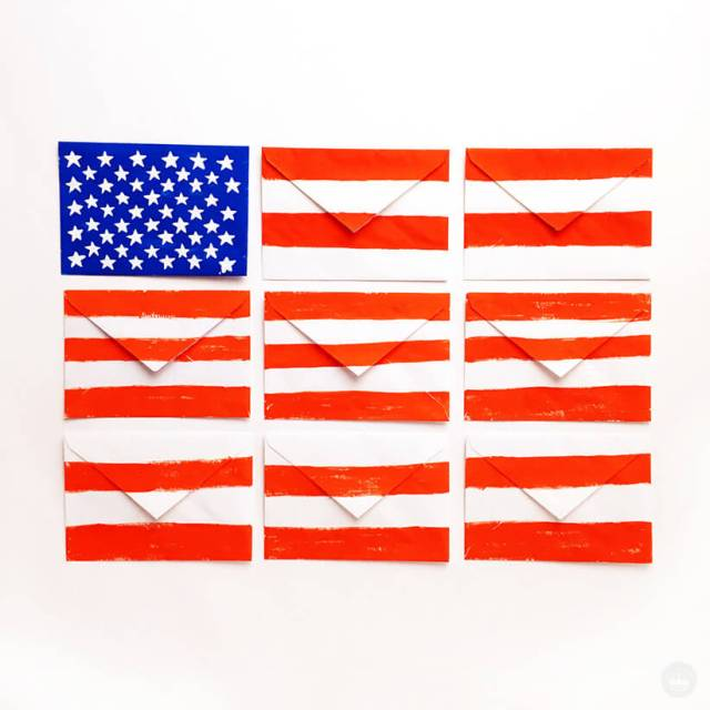 Memorial Day shareable - American flag made out of envelopes | thinkmakeshareblog.com